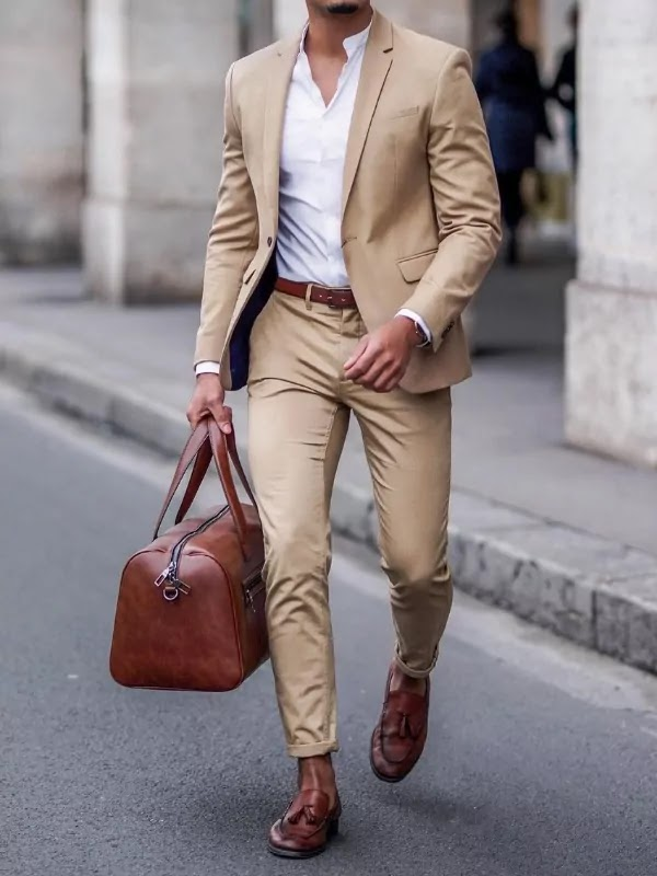 Camel colour suit with white shirts.