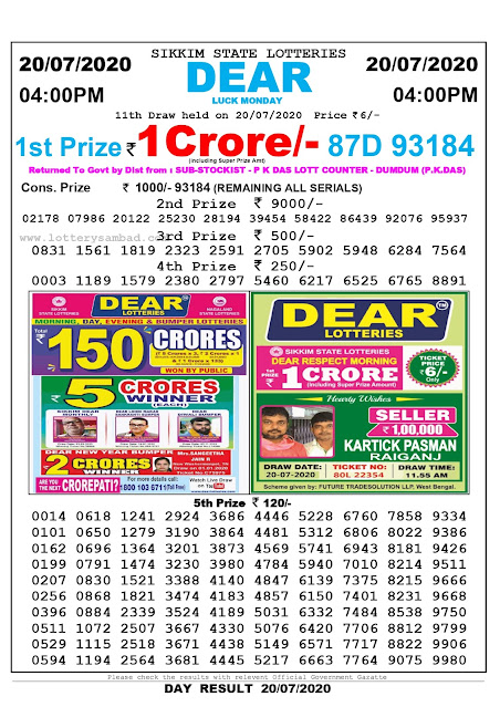 Lottery Sambad 20-07-2020 Sikkim State Lottery Result 04.00 PM