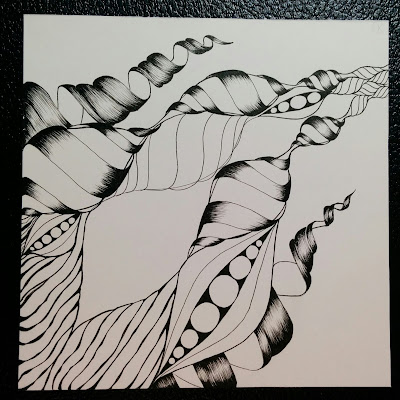 abstract black and white ink drawing in progress twisty towers and seed pods