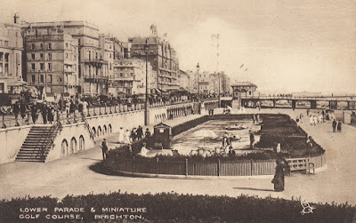 Lower Parade & Miniature Golf course, Brighton. Postally used 10 October 1928. Tuck's Photogravure Postcard No. 2162