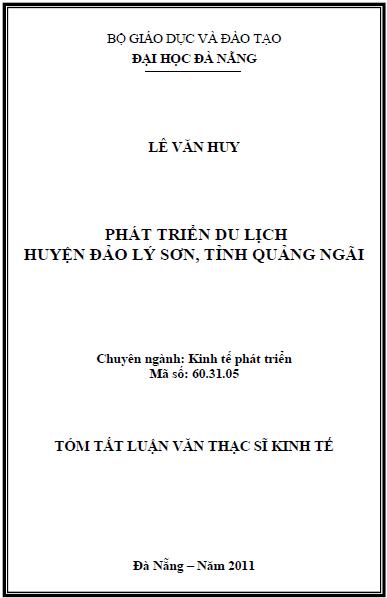 Phát triển du lịch huyện đảo Lý Sơn tỉnh Quảng Ngãi