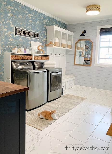 Wallpaper accent wall laundry mud room
