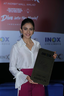 Rakul Preet in Pink Dress with Cute Smile for INOX ScreenX Launch 2