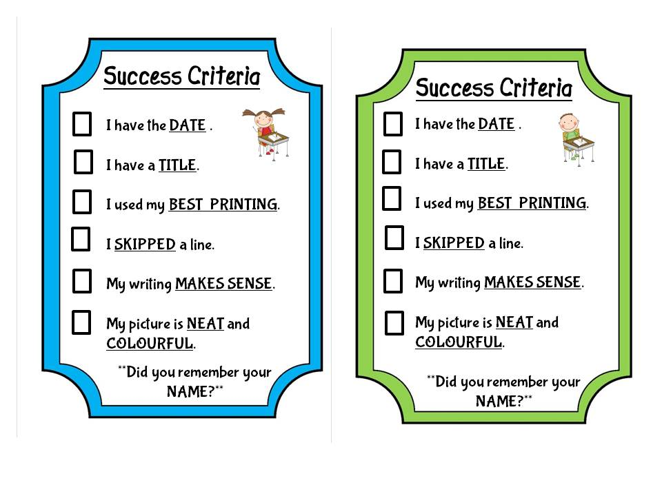 Success criteria for diary writing app