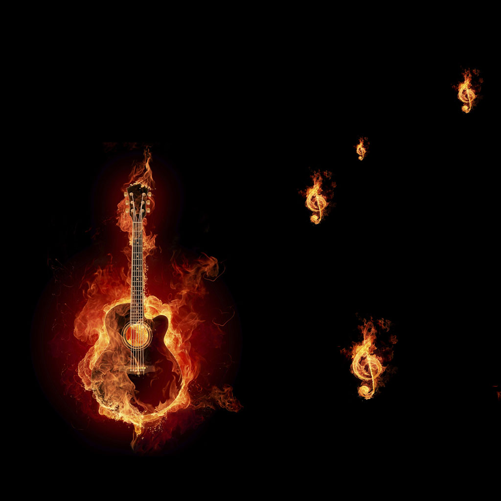 Flaming guitar stock illustration. Illustration of yellow ...