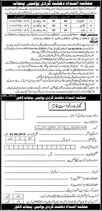 Advertisement for Punjab Police Jobs