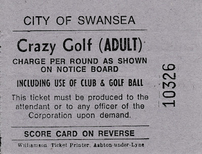 Scorecard from Swansea Crazy Golf
