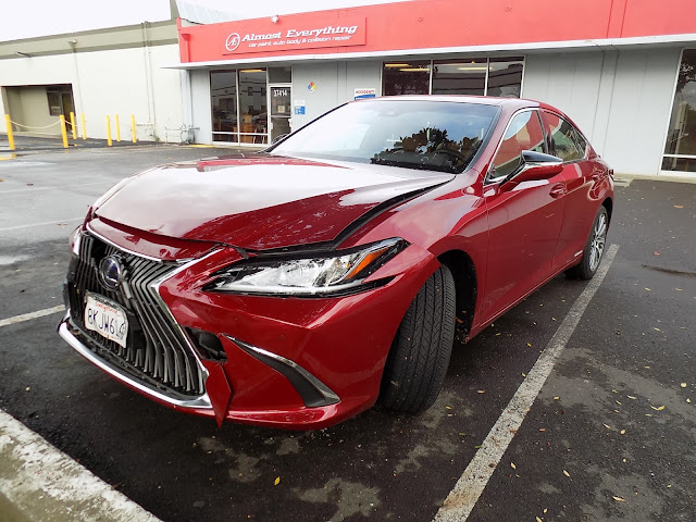 2019 Lexus ES300h with damaged bumper & hood at Almost Everything Auto Body.