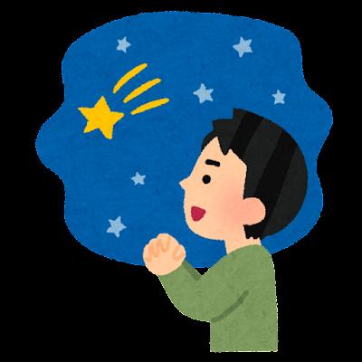 流れ星にお願いをする人のイラスト(男性)
