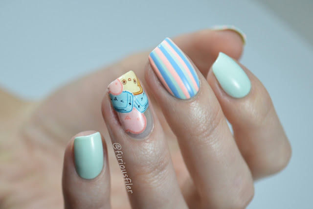 pastel cute yrnails water decals stripes negative space
