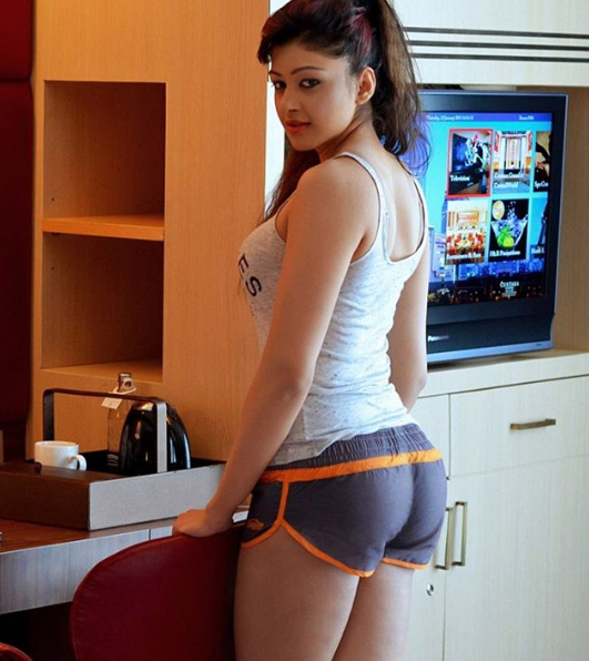 sapna vyas patel in blue shorts looking hot