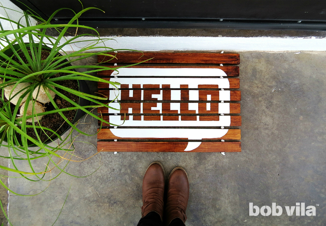 DIY hello wood slat doormnat