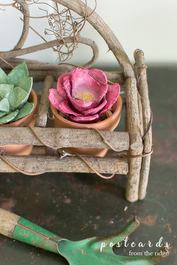 pink flower made from egg carton