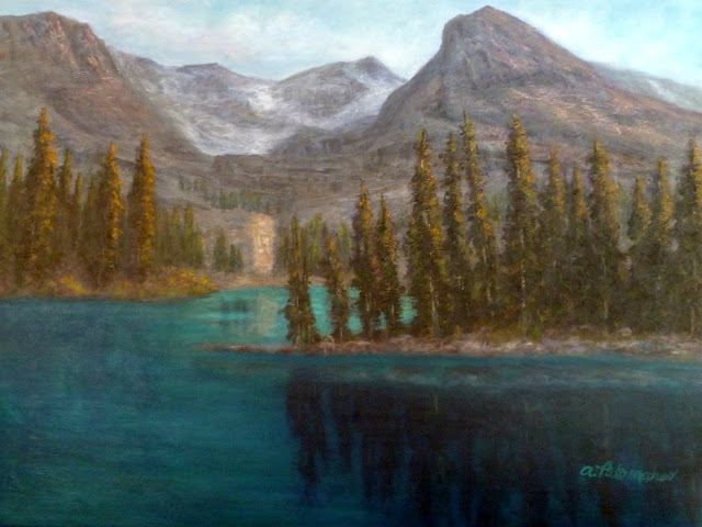 Painting of trees and mountains around Lake O'hara