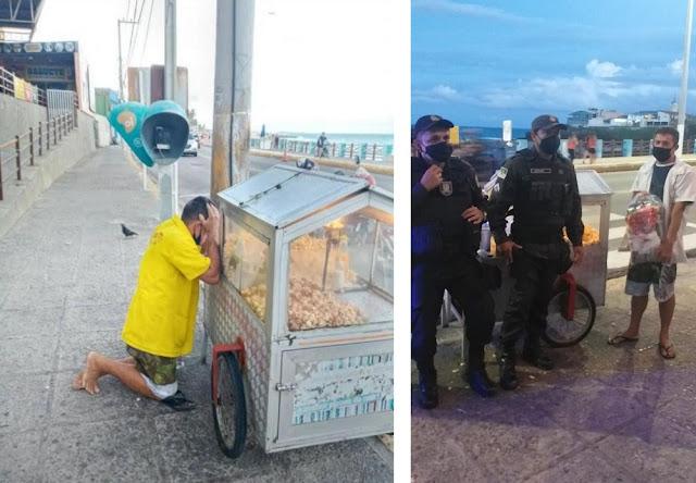 Policiais militares conseguem doações para pipoqueiro da Praia do Meio