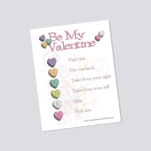 Be My Valentine Dice Game Printable