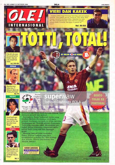 FRANCESCO TOTTI AS ROMA VS AC MILAN LEGA CALCIO 1998