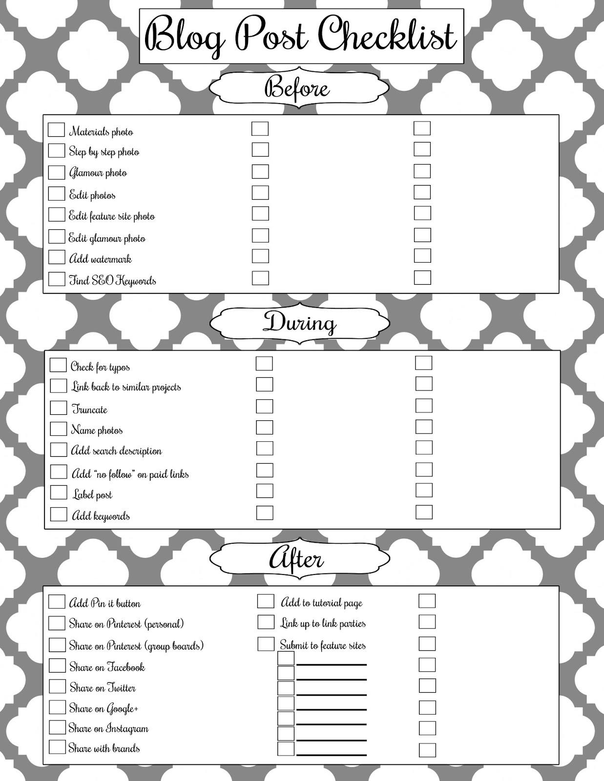 Blog Post Writing Checklist Free Printable! - Girl Loves Glam
