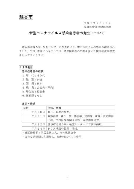 新型コロナウイルス感染症患者の発生について(7月24日発表)