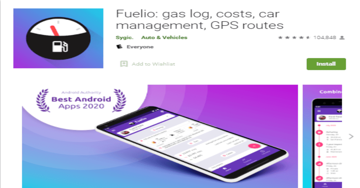 Fuelio - Gas log and Cost app interface