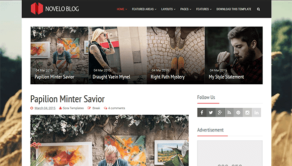 Novelo Blog template fast clean layout responsive