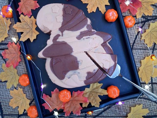 Tarta marmolada de queso, calabaza y chocolate para Halloween cheesecake sin horno recetas divertidas postre fiesta celebración cuajada Cuca