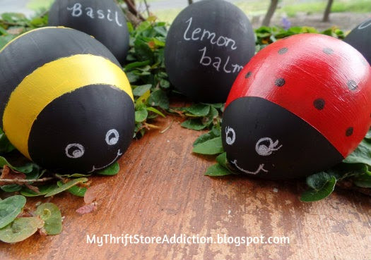 Repurposed Easter egg bumblebee and ladybug