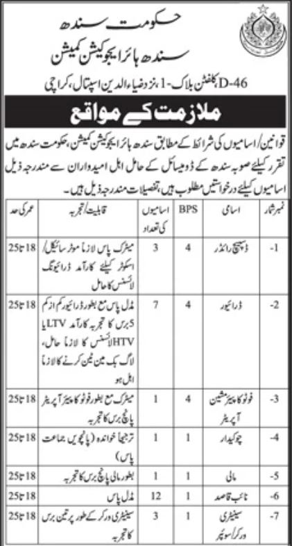 JOBS | Government of Sindh Higher Education