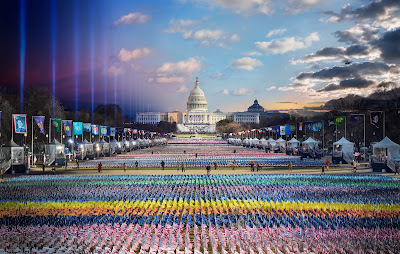 color photograph of Presient Biden's inauguration from sunrise to sunset