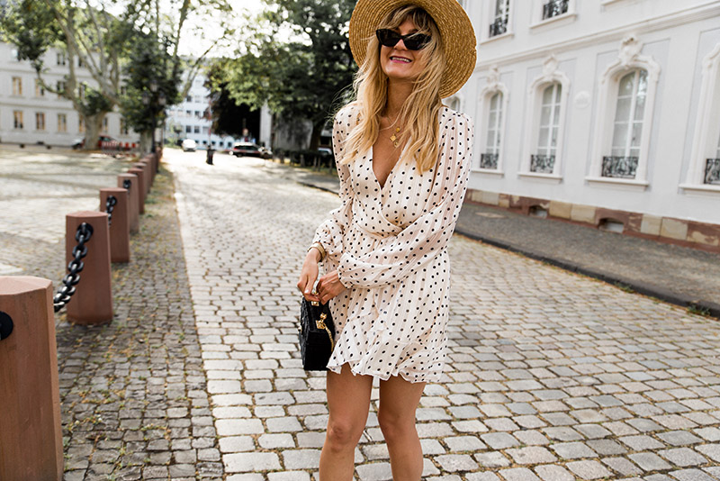 Asos cat eye sunglasses Loavies polka dots dress