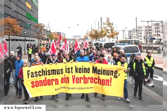 Bielefeld Germany - 14,000 People Protest Against Neo-Nazi March