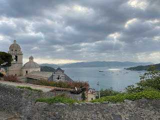 View over the Church of San Lorenzo (Porto Venere) toward the Bay of Spezia