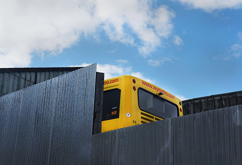 urban photography, abstract, yellow bus, grey, blue sky, urban photo, contemporary, art, Sam Freek,