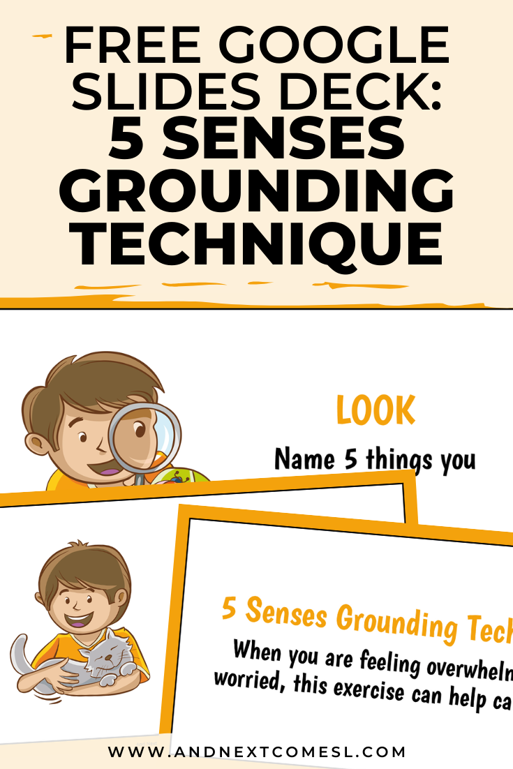 Free Google Slides activity for teaching mindfulness and the 5 senses grounding technique to kids