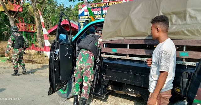KURANGI PELINTAS ILEGAL SATGAS PAMTAS RI-PNG YONIF RAIDER 100/PS POS WAMBES MELAKSANAKAN SWEEPING
