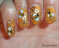 Bee nail art by wonderfulwolf