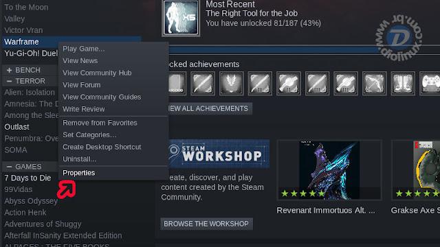 Propriedades de um jogo na Steam