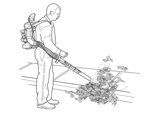 Hombres soplando hojas de suelo