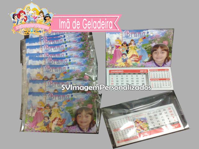 Imã de Geladeria com Calendario As Princesas  Disney dicas e ideias para decoração de festa personalizados