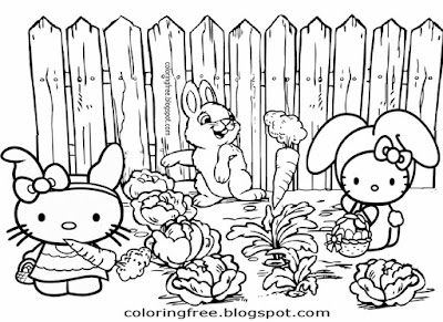 Farm carrot field cute bunny rabbit Easter coloring pages for teens printable Hello Kitty drawings