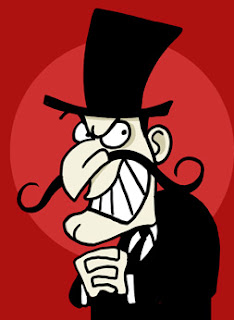 Cartoon villain with smirk and long curly moustache