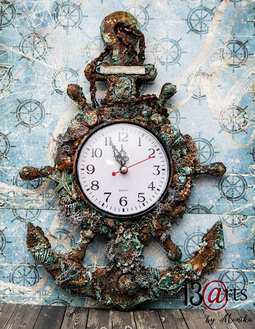 Zegar Altered Art - Zardzewiała Kotwica