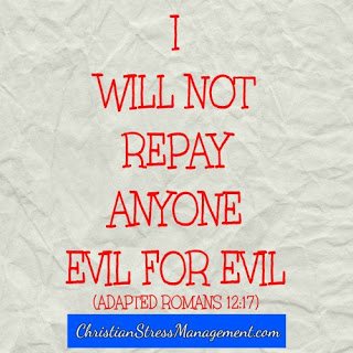 I will not repay no one evil for evil. (Adapted Romans 12:17)