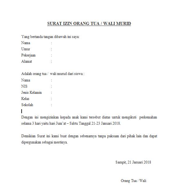 Download Contoh Surat Izin Kemah Untuk Orang Tua