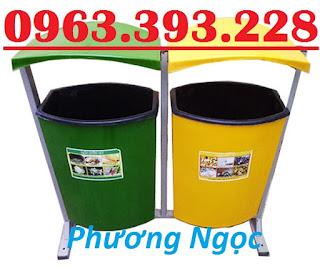 Thùng rác nhựa treo đôi 80L, thùng rác nhựa composite, thùng rác công cộng, thùn Thung-rac-composite-1
