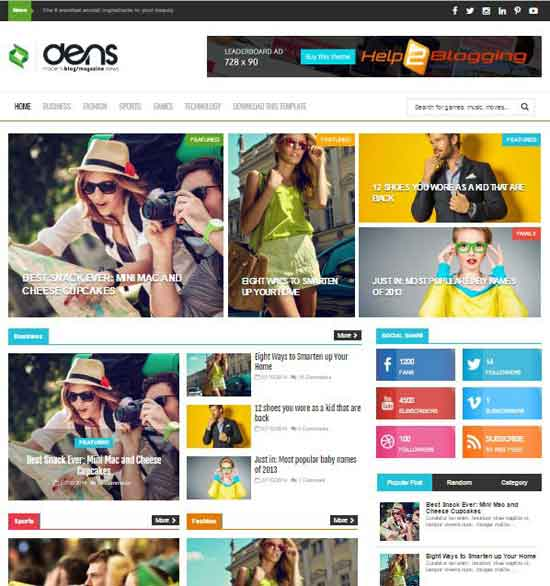 Dens Clean, Responsive design For Magazine, Technology, Newspaper, Fashion, Modern blog etc Drop down menu Page Navigation Menu Tabbed Widget Ready Right Sidebar Mixed color of Black, White, Green, Blue etc color Header ads ready Minimalist SEO Ready Free Premium template Post Thumbnails 2 Columns layout 4 Columns Footer Blogger Template Download