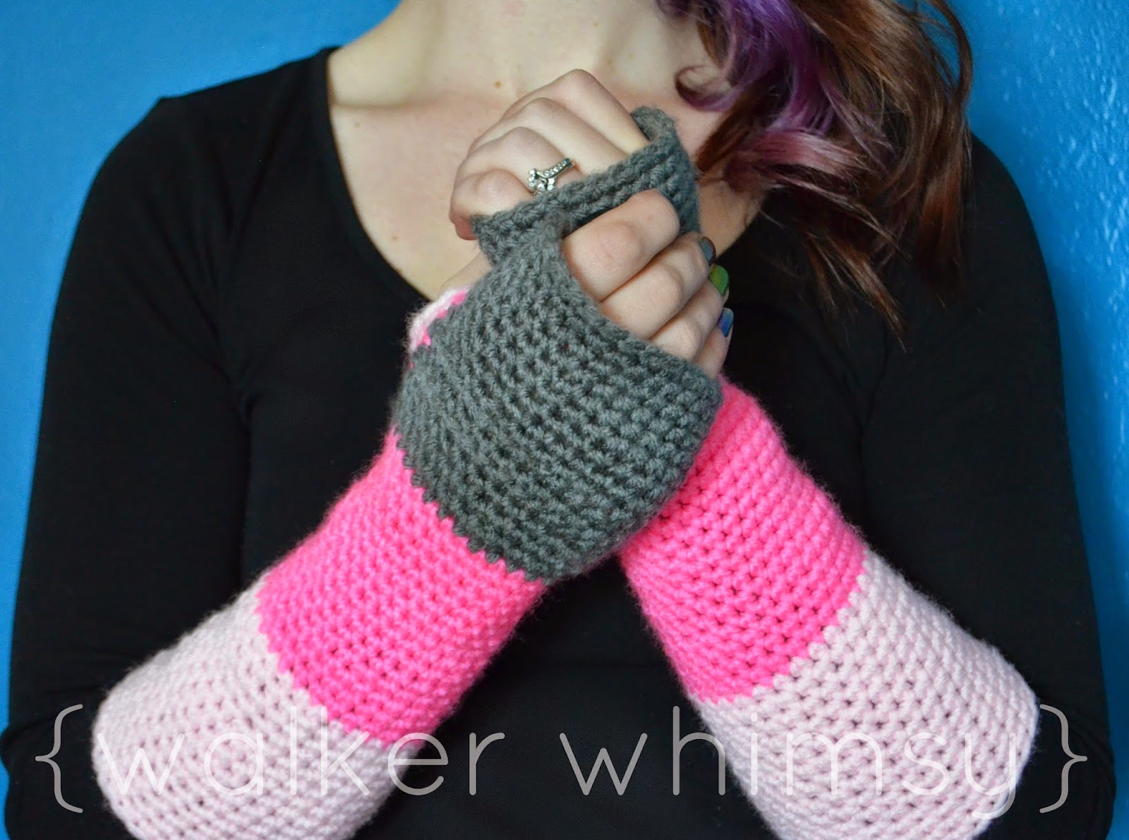 walker whimsy}: Color Block Arm Warmers