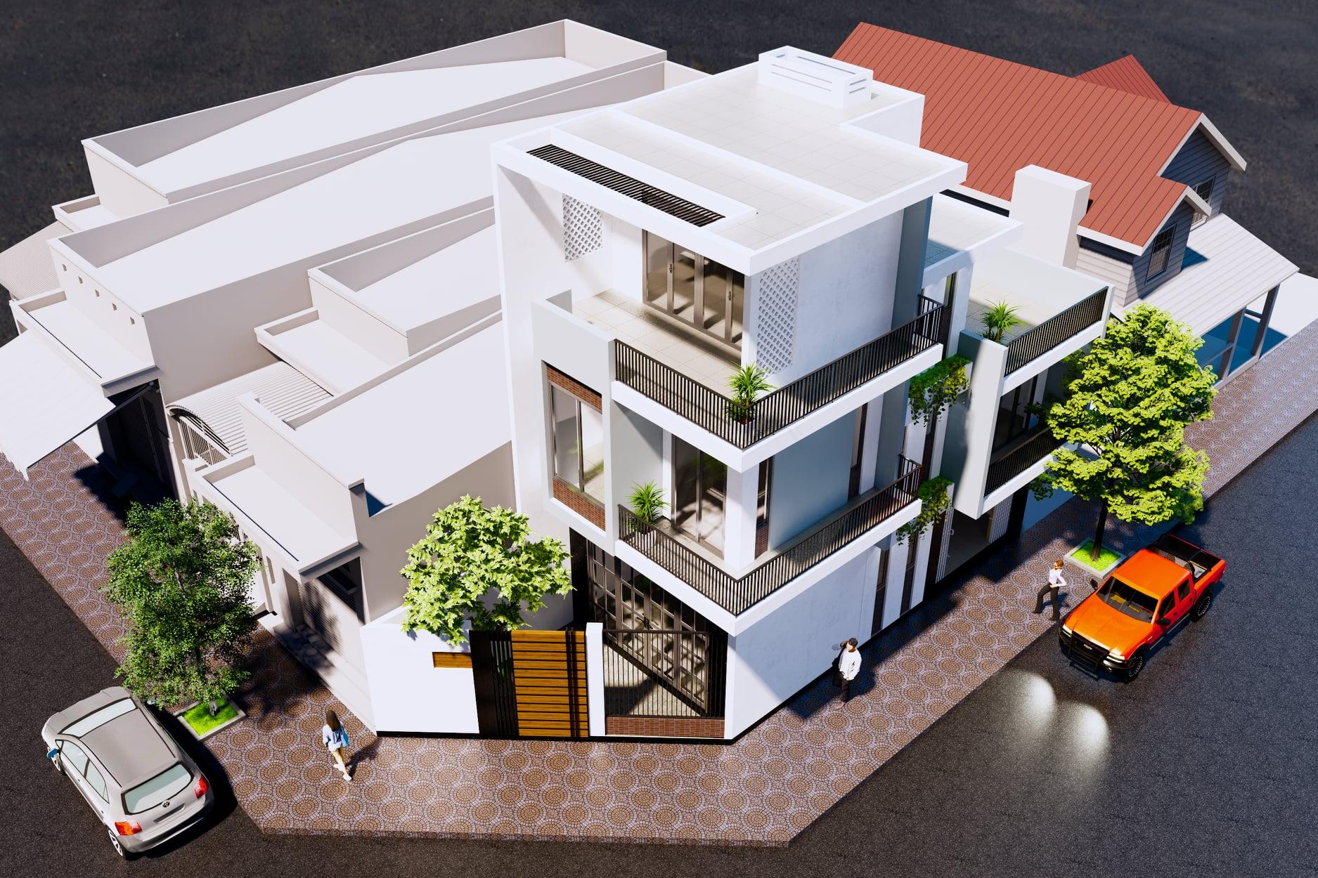 Phối cảnh nhà phố nhỏ 2 mặt tiền hiện đại mới nhất 2021