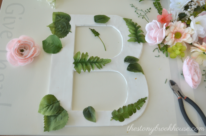 Adding greens to Floral Letter