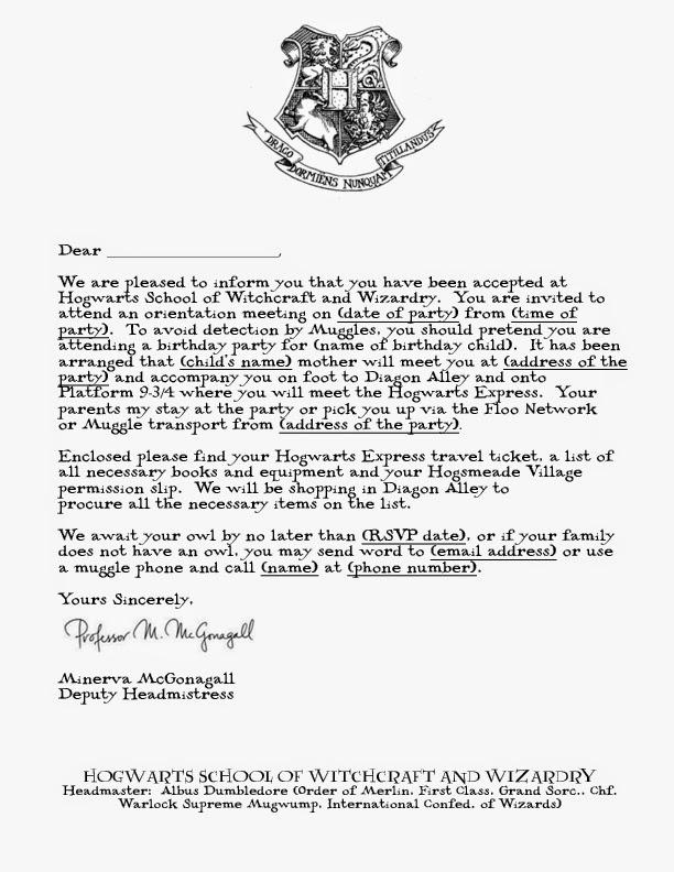 Free Printable Hogwarts Invitation Template